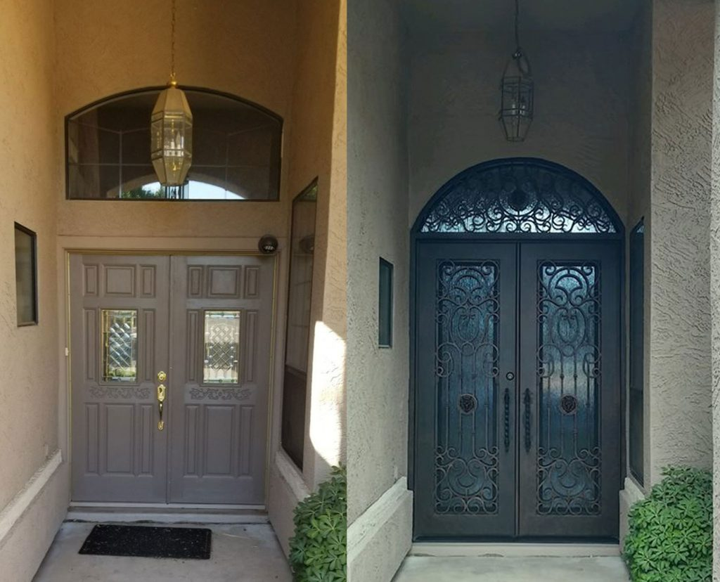 before and after iron door